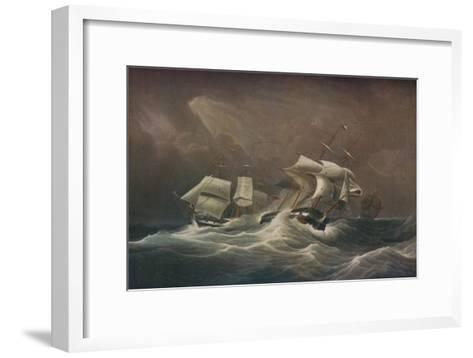 H.M.S. Indefatigable Engaging The French Droits-De-LHomme,1797, 1829-Edward Duncan-Framed Art Print