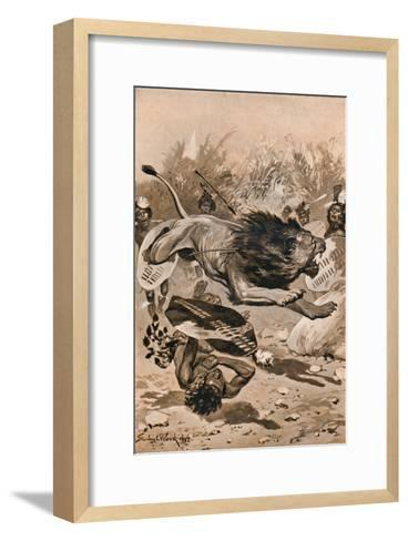 As The Lion Charged, 1902, (1903)-Stanley Llewellyn Wood-Framed Art Print