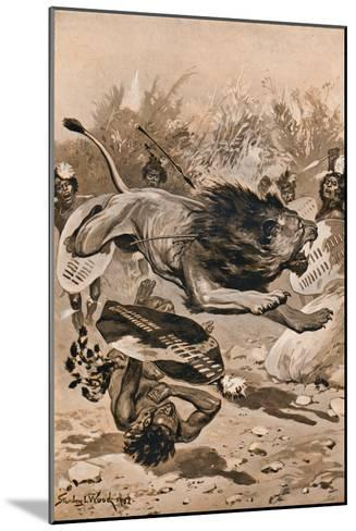 As The Lion Charged, 1902, (1903)-Stanley Llewellyn Wood-Mounted Giclee Print