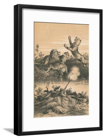 Lion Hunting At Night, c1880--Framed Art Print