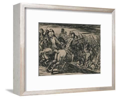 Los 200 cavalleros compañeros de los siete Infantes, cercados de la muchedumbre de los Moros...--Framed Art Print