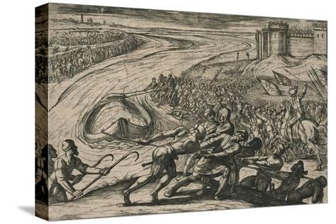 Een Schip met coren gheladen blyft op een drooghte Sitten; de Duytschen pooghent naer hen te trecke-Antonio Tempesta-Stretched Canvas Print