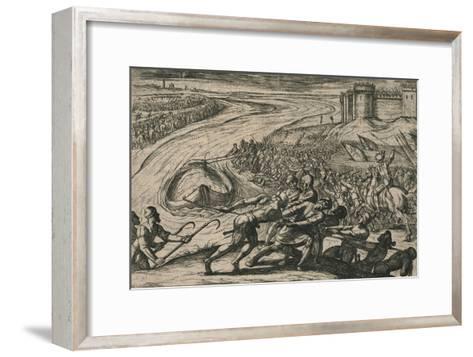 Een Schip met coren gheladen blyft op een drooghte Sitten; de Duytschen pooghent naer hen te trecke-Antonio Tempesta-Framed Art Print