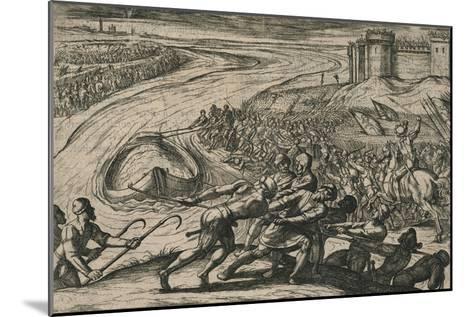 Een Schip met coren gheladen blyft op een drooghte Sitten; de Duytschen pooghent naer hen te trecke-Antonio Tempesta-Mounted Giclee Print