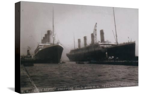 S.S. Olympic entering dock with S.S. Titanic alongside, 1912--Stretched Canvas Print