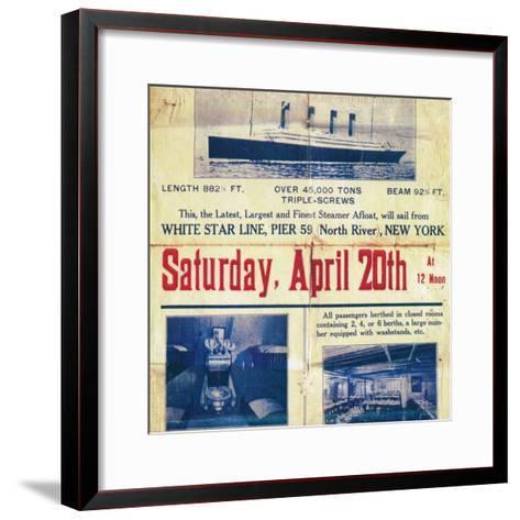 White Star Line poster to promote the Titanics return trip from New York, 1912--Framed Art Print