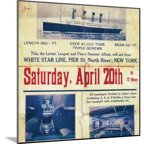 White Star Line poster to promote the Titanics return trip from New York, 1912--Mounted Giclee Print