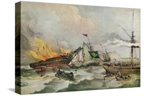 The Burning of the Ocean Monarch, c1848-Francois d'Orleans, Prince de Joinville-Stretched Canvas Print