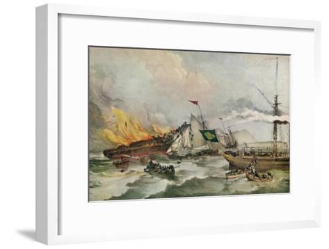 The Burning of the Ocean Monarch, c1848-Francois d'Orleans, Prince de Joinville-Framed Art Print