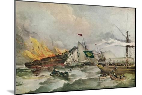 The Burning of the Ocean Monarch, c1848-Francois d'Orleans, Prince de Joinville-Mounted Giclee Print