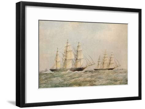 The Great China Race. The Clipper Ships Taeping and Ariel passing the Lizard, Cornwall, 1866-Thomas Goldsworth Dutton-Framed Art Print