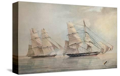 Black Joke engaging the Spanish Slave Brig El Almirante, 1 February 1829, 1830-Edward Duncan-Stretched Canvas Print