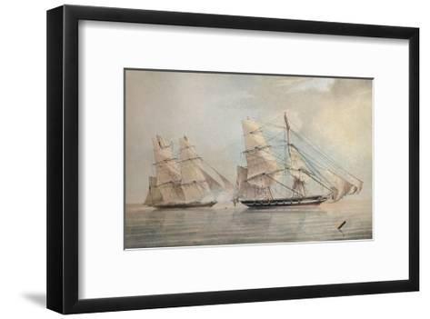 Black Joke engaging the Spanish Slave Brig El Almirante, 1 February 1829, 1830-Edward Duncan-Framed Art Print