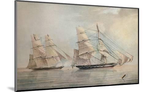 Black Joke engaging the Spanish Slave Brig El Almirante, 1 February 1829, 1830-Edward Duncan-Mounted Giclee Print
