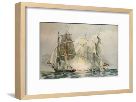 Capture of the Spanish slave vessel Dolores by HM brig Ferret, 4 April 1816, 1816-William John Huggins-Framed Art Print