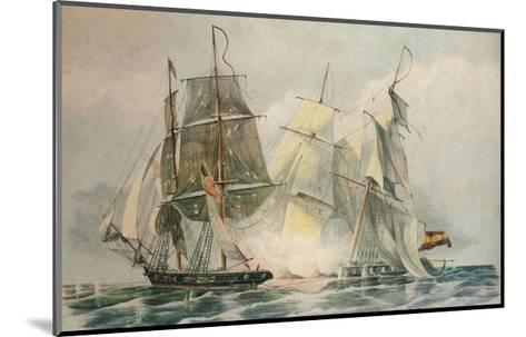 Capture of the Spanish slave vessel Dolores by HM brig Ferret, 4 April 1816, 1816-William John Huggins-Mounted Giclee Print