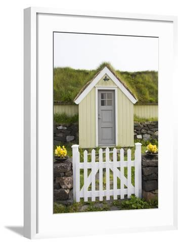 A House in the Town of Husavik Along the North Coast of Iceland-Michael Melford-Framed Art Print