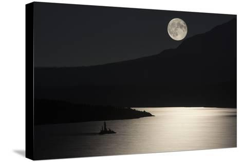 Full Moon over Saint Mary's Lake in Montana's Glacier National Park-Keith Ladzinski-Stretched Canvas Print