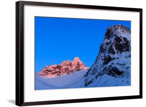 Sunset Shines on Snow-Covered Rugged Mountains Near Tromso, Norway-Babak Tafreshi-Framed Art Print