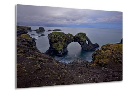 A Natural Arch in Sea Off the Coast of Iceland-Raul Touzon-Metal Print