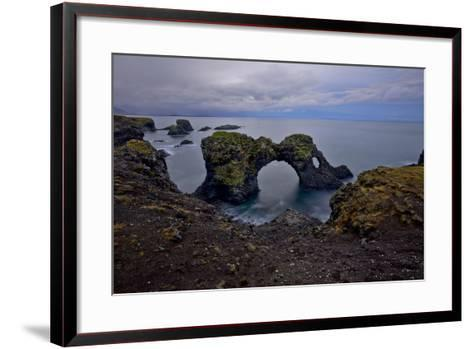 A Natural Arch in Sea Off the Coast of Iceland-Raul Touzon-Framed Art Print