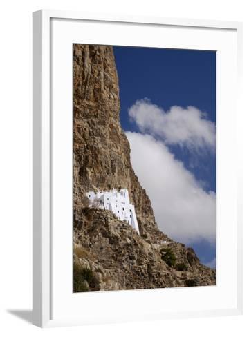 The Whitewashed Monastery of Panagia Hozoviotissa on the Cycladic Island of Amorgos-Krista Rossow-Framed Art Print