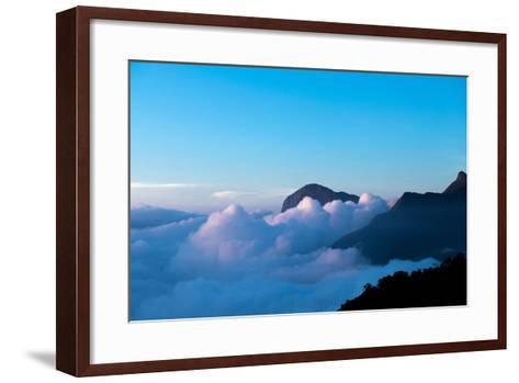 Mountain Peaks Appear Out of Dense Clouds-Prasenjeet Yadav-Framed Art Print