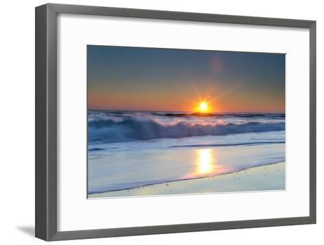Waves Lap Against the Shore as the Sun Sets-Robbie George-Framed Art Print