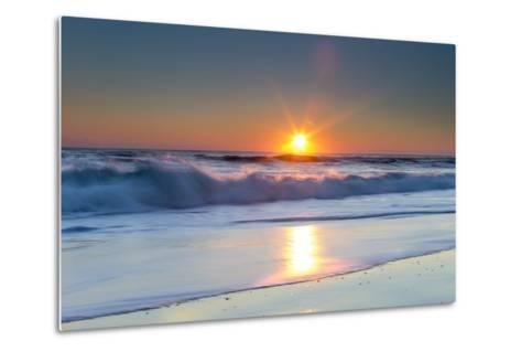 Waves Lap Against the Shore as the Sun Sets-Robbie George-Metal Print