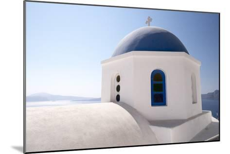 A Classic Blue Dome of a Greek Orthodox Church in Santorini, Greece-Krista Rossow-Mounted Photographic Print