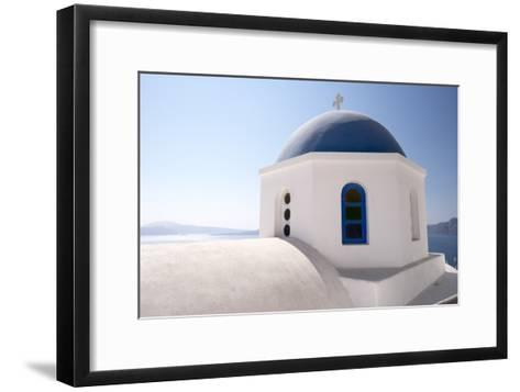 A Classic Blue Dome of a Greek Orthodox Church in Santorini, Greece-Krista Rossow-Framed Art Print
