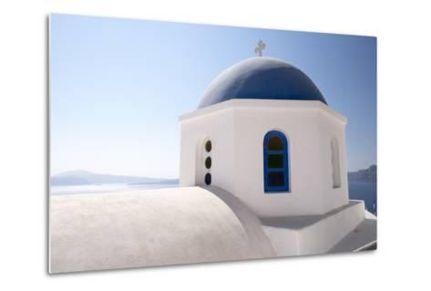 A Classic Blue Dome of a Greek Orthodox Church in Santorini, Greece-Krista Rossow-Metal Print