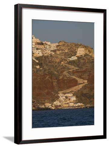The Town of Oia with its Steep Donkey Path Leading from the Port Up to the Main Town-Krista Rossow-Framed Art Print