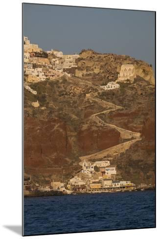 The Town of Oia with its Steep Donkey Path Leading from the Port Up to the Main Town-Krista Rossow-Mounted Photographic Print