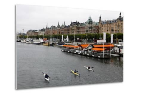 High Angle View of People Kayaking in Stockholm-Jill Schneider-Metal Print