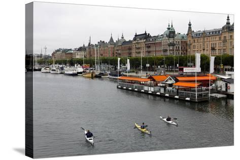 High Angle View of People Kayaking in Stockholm-Jill Schneider-Stretched Canvas Print