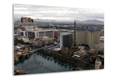 Aerial View of Las Vegas at Sunrise in Nevada, USA-Jill Schneider-Metal Print