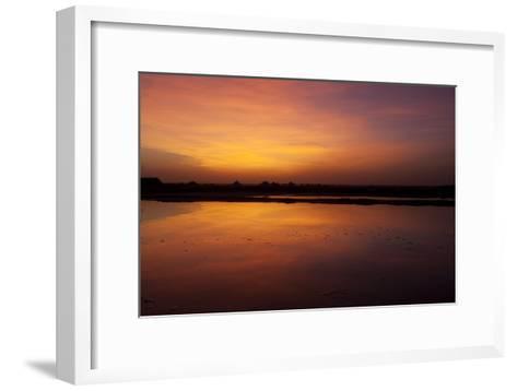 A Glowing Orange Sunset over Sambhar Salt Lake-Steve Winter-Framed Art Print