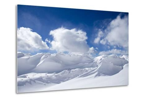 Pristine Snow Drifts Meet Large Puffy Clouds-Robbie George-Metal Print