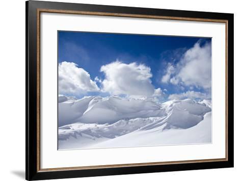 Pristine Snow Drifts Meet Large Puffy Clouds-Robbie George-Framed Art Print