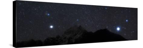 Bright Stars Sirius and Procyon Rise Above Mount Thamserku in Himalayas-Babak Tafreshi-Stretched Canvas Print