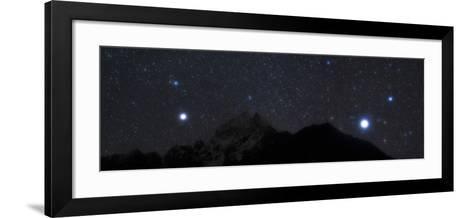Bright Stars Sirius and Procyon Rise Above Mount Thamserku in Himalayas-Babak Tafreshi-Framed Art Print