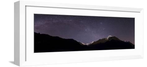 Panoramic View of Himalayas with the Milky Way over the Khumbu Valley-Babak Tafreshi-Framed Art Print