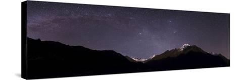 Panoramic View of Himalayas with the Milky Way over the Khumbu Valley-Babak Tafreshi-Stretched Canvas Print