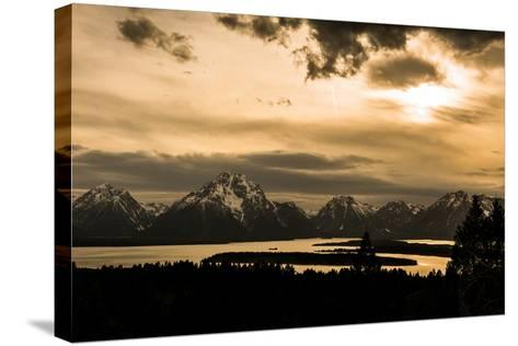 The Sun Sets over Mountains and River-Prasenjeet Yadav-Stretched Canvas Print