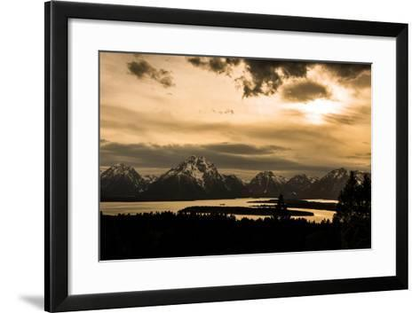 The Sun Sets over Mountains and River-Prasenjeet Yadav-Framed Art Print