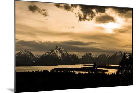 The Sun Sets over Mountains and River-Prasenjeet Yadav-Mounted Photographic Print