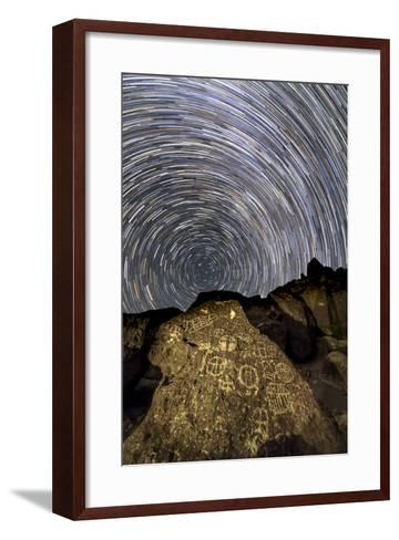 A Time-Exposure Image of Star Trails Shows the Sky Rotation around the North Pole-Babak Tafreshi-Framed Art Print