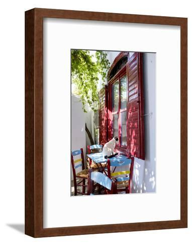 Cat Sitting on the Table Looking Inside a Cafe Window-Krista Rossow-Framed Art Print