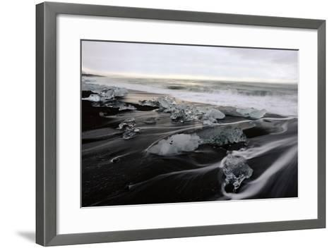 Blocks of Icebergs on Black Sand Beach in Iceland-Raul Touzon-Framed Art Print